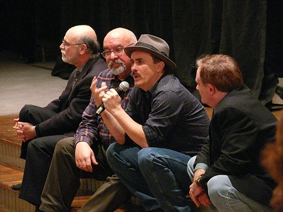 Dennis Paoli, Stuart Gordon, Jeffrey Combs and Mark Redfield during an audience question and answer session, after a performance of Nevermore in Baltimore in 2010. (Photo: Jennifer Rouse)